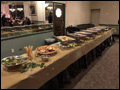 catered buffet is ready for guests at the VFW Hall in Albertson