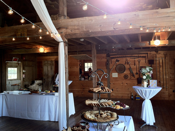 Long Island Wedding catering setup in a barn