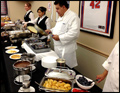 breakfast catering a at a Long Island corporate event featuring crepe station
