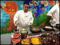 breakfast catering with a crepe station, the chef is making crepes