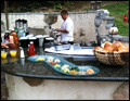 catered post wedding breakfast in a back yard with omelette station