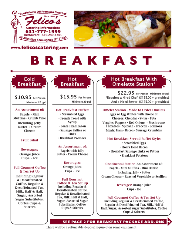 Breakfast and Brunch Catering On Long Island