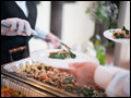 buffet style catering at a Tuscan style backyard wedding on Long Island