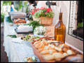 buffet line at a catered Tuscan style Long Island wedding