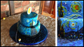 Gluten free painted wedding cake for Van Gogh Starry Night themed wedding