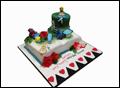 Alice in Wonderland themed bridal shower cake