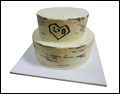 wedding cake that looks like a birch stump with the bride's and groom's initials cut into tree bark