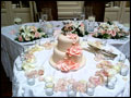 white and pink wedding cake for a catered Long Island wedding