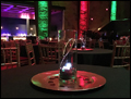 catering hall is set for a corporate Christmas party