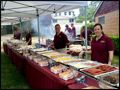 buffet style catering at a fire department summer bbq