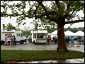 our mobile food trucks and tents set up on a rainy day on Logn Island