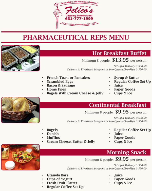 Catering Long Island Pharmaceutical Reps Drug Reps Special Packages