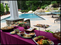 Catered appetizers served by the pool side