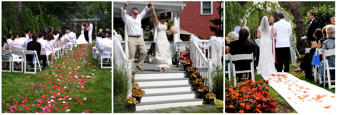 3 pictures of catered Long Island off premise weddings, first couple saying their vows, second couple being introduced and third couple standing arm in arm during their back yard wedding ceremony