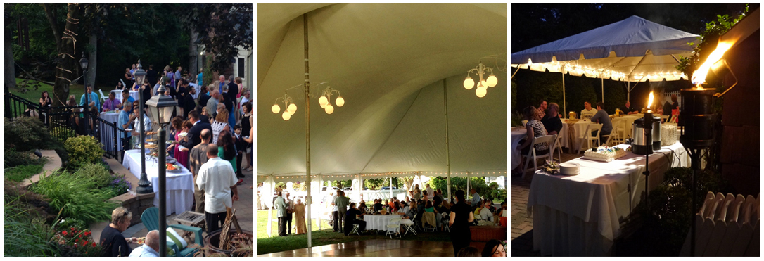 picture of coctail hour catering for a Long island wedding, beautiful catering tent with chandelier lighting, and torches lighting up the party scene during a catered back yard party