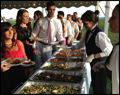 hot buffet line for Long Island wedding catering