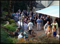 birds eye view of a catered backyard wedding coctail hour