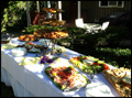 appetizer table for a catered Long Island wedding coctail hour