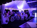 Long Island farm wedding photo at dusk with a lit up party tent
