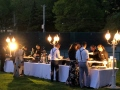 Party is winding down with dessert at a diy Long Island wedding